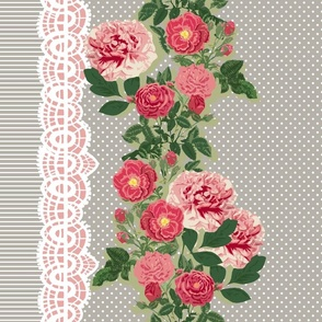 Double edge floral border with polka dots and stripes on taupe