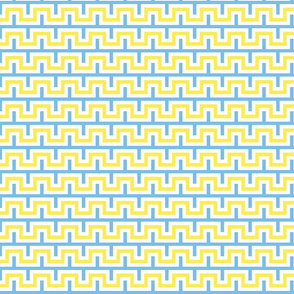 Squarest Wave - Blue White Yellow