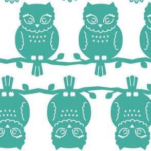 owl border in teal