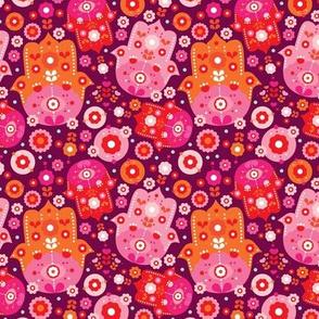 Colorful arabic hamsa hand of fatima flowers design