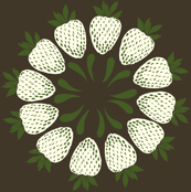 strawberry floral in green, brown, white
