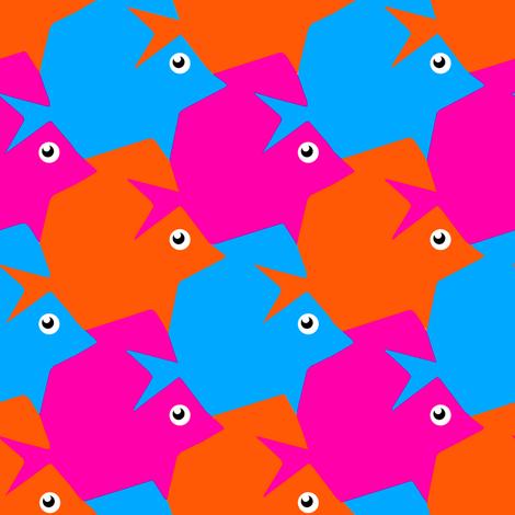 Tesselating Fish Vivid Pink Orange Sky