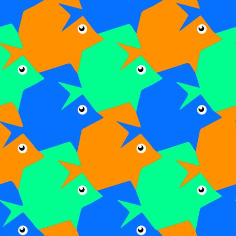 Tesselating Fish Blue Orange Mint