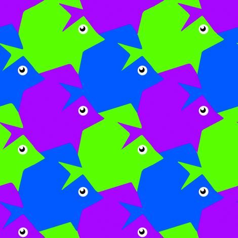Tesselating Fish Blue Green Purple
