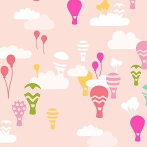 hot air balloons in pink