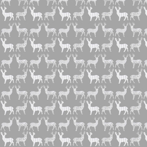 Meadow Deer White on Gray
