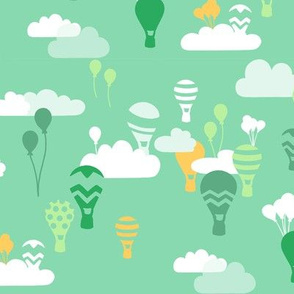 hot air balloons in green