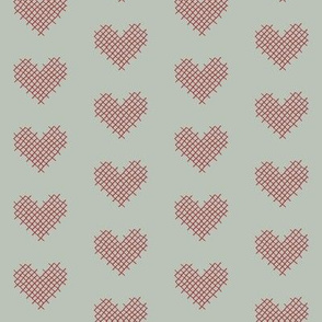 sweet hearts - sage and red