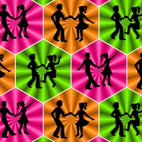 dance party : silhouettes in hexagonss