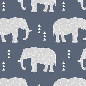 Geometric Elephant // dark blue