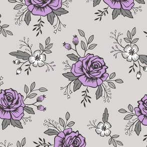 Rose and flower Purpel on Grey Valentine Floral