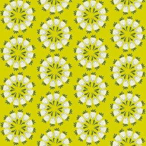 strawberry floral design in green