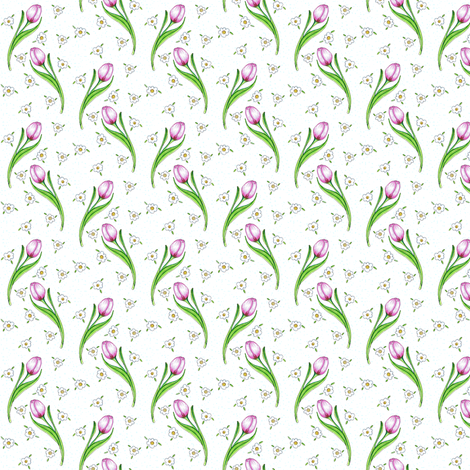The Pink tulip & Daisies on white speckled