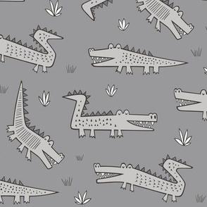 Alligators Crocodile Grey on Dark Grey