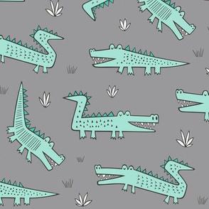 Alligators Crocodile Mint on Grey