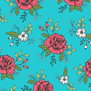 Rose and Flower on Aqua Valentine Floral