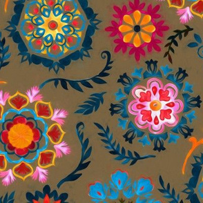 Suzani inspired flowers on dark brown - large
