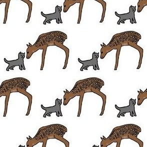 Deer and Cat Friends