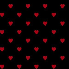 Dark Red Hearts on Black
