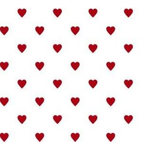 Dark Red Hearts on White