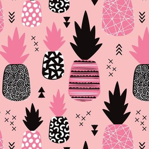 Awesome trendy pineapple vintage summer fruit design in pink black and white