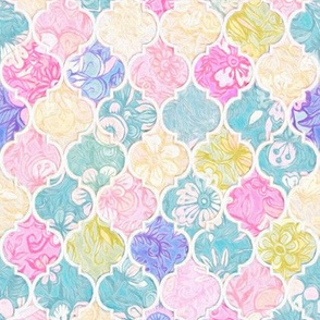 Soft Bright Pastel Floral Moroccan Tiles