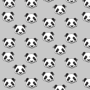 panda head - grey // cute trendy hipster bear animal kids nursery baby design