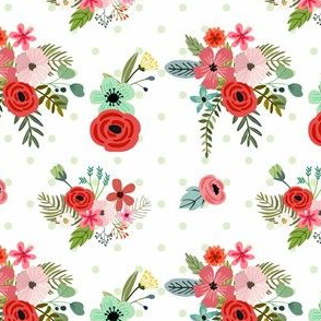 Floral Happy Green Polka