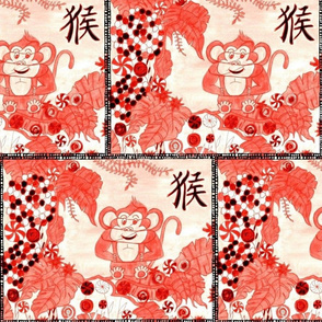 Red Cupcake Monkey In Candy Jungle Patchwork
