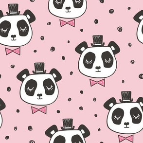 Panda Head with  Bow Tie and Hat Dots on Pink