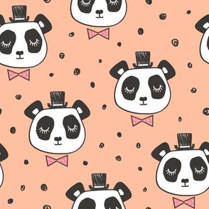 Panda Head with Bow Tie and Hat Dots on Peach