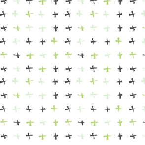 Pencil sketch geometry - green grass - crosses 01