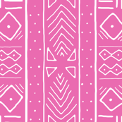 Mudcloth in white on pink