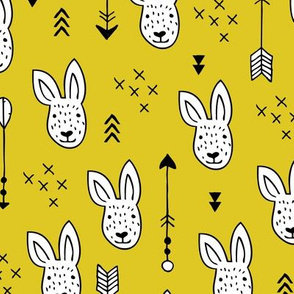 Cool white bunny and geometric arrows spring easter design in gender neutral mustard yellow
