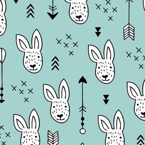 Cool white bunny and geometric arrows spring easter design in gender neutral soft blue