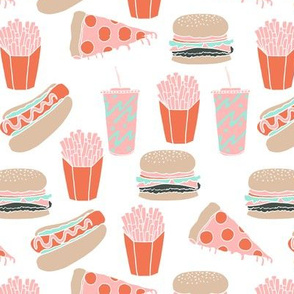 junk food // pink junk food hot dog french fries hamburger cheeseburger fast food junk food kids food