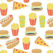 junk food // hot dog pizza fries soda fried food fast food novelty food print
