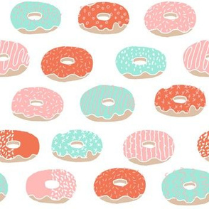 donut // donuts doughnuts mint and pink coral pastel donuts sweets bakery pastry food print