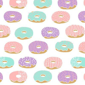 donuts // doughnuts purple pink and mint pastel kids food fried food fast food sweets bakery