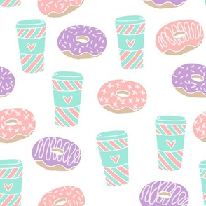 coffee and donuts // latte coffee drink sweets pastel mint pink purple