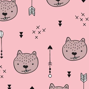 Sweet baby beaver woodland forest and geometric arrows illustration design for kids