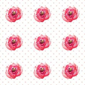 Mini Roses Pink Polka Dots
