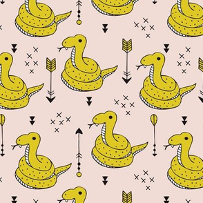 Fun baby snake indian summer reptile arrow geometric details gender neutral mustard yellow