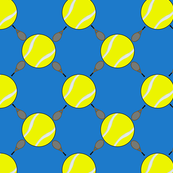 Tennis balls and Rackets blue