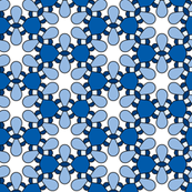 Blue and White Retro Floral Pattern
