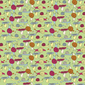 Funny pattern with snails and mushrooms