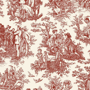 French Toile...Negro Toil (Maroon / Cream)