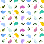 Colorful Bird and Leaf pattern