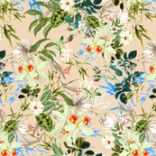 Hibiscus, Orchid, Rosebuds - White Blue Green