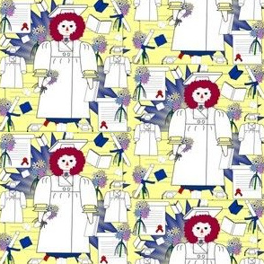 Graduation Annie Graduation Raggedy Anne Doll, Diploma, Flowers, Cap & Gown Fabric #8